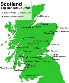 Map of scottish golf clubs