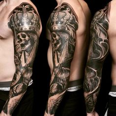 Skull and crown sleeve tattoo - 100 Awesome Skull Tattoo Designs