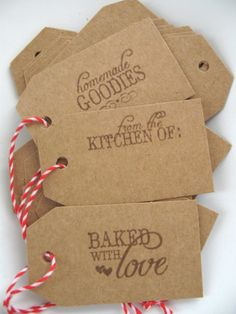 Kraft Christmas Food Tags Baked With Love / From The Kitchen Of / Homemade Goodies 15 Count