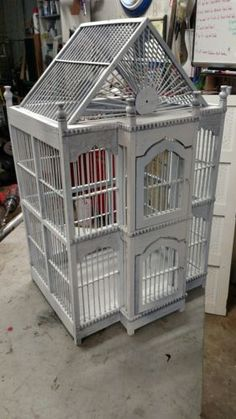 Vintage-Ornate-Wooden-Bird-Cage
