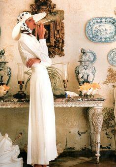 Dutch model Apollonia van Ravenstein (nickname Plonja), photo by Norman Parkinson, July 1973