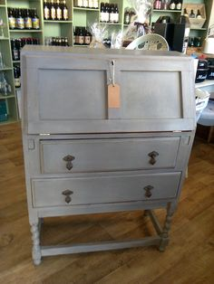 Bureau painted in Annie Sloan French Linen and Primer Red