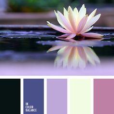 Черно-синий и жемчужно-белый цвета дополняют спокойную гамму спектрально близких фиолетово-голубых и сиренево-розовых оттенков.