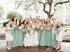 Debating colors for wedding.... Sage or periwinkle. Hmmmmm...kind of loving this color  soft sage bridesmaid dresses | Amy Arrington #wedding