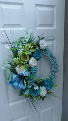 Silk Flower Front Door Wreath Everyday by lalascustomdesigns