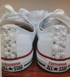 Pearl Converse and Wedding Converse   Vans   Nike   Pumps Silver Swarovski  Diamonte   Diamante Hand Made To Order US 5 - 10 UK 8 AU 5 - 1 b04c535153d0