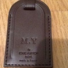 Authentic Louis Vuitton luggage tag initials M.Y Excellent condition. Please look at pictures for condition. Initials M.Y on front. Made in France. No dust bag, No box. Luggage tag only.  Smoke free home. Please tag for any reason. Thank you. Louis Vuitton Accessories