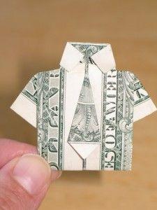 Dollar origami dressy shirt & tie