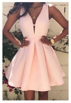 Women Fashion Casual Dress v-Neck Sleeveless Pink Evening Party Dresses