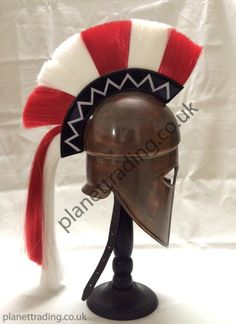 Greek Corinthian Helmet with plume + Free Helmet Stand by planettradingco on Etsy