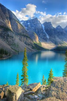 Moraine Lake in Alberta: Go with a group if hiking the trails. there are grizzlies on the trails. Some are closed some years to help the bears re-establish themselves in the area.