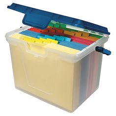 """Office Depot® Brand Portable File Box, 10 11/16""""H x 14 11/16""""W x 10 3/8""""D, Clear/Navy"""