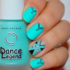 Tribal Design for Short Nails. We decided to remind you how beautiful aqua nails is and what masterpieces can come out of using it. There is an unlimited number of suggestions, but only the perfect ones are gathered here! #nails #nailart #naildesign #aquanails