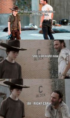 Rick Grimes from The Walking Dead tells the best dad jokes - Gallery Walking Dead Funny, Walking Dad Jokes, Walking Dead Coral, Carl The Walking Dead, The Walk Dead, Walking Dead Quotes, Walking Dead Cast, Rick Grimes, Twd Memes
