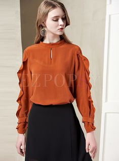 Solid Color Stand Collar Hollow Out Falbala Silk Blouse Dress Outfits, Casual Outfits, Pencil Skirt Black, Pencil Skirts, Kpop Fashion Outfits, Satin Blouses, Sweet Dress, Blouse Dress, Blouses For Women