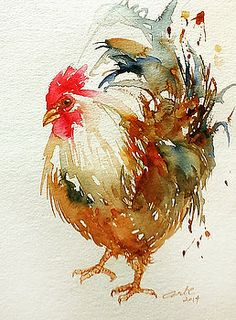"I sure enjoy a beautiful rooster painting. Daily Paintworks - ""White Rooster"" - Original Fine Art for Sale - © Arti Chauhan Chicken Painting, Chicken Art, Chicken Drawing, Watercolor Bird, Watercolor Animals, Watercolor Drawing, Watercolor Landscape, Landscape Paintings, Arte Do Galo"