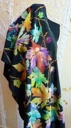 Hey, I found this really awesome Etsy listing at https://www.etsy.com/listing/385746206/hand-painted-silk-crepe-de-chine-leaf