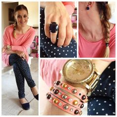 Coral loose top over coral tank top: Both Earth Addict. Polkadot skinny jean: Truworths. Navy shoes: Woolworths