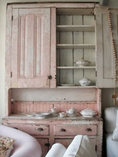 ♡ Home Pink Home ♡ antique pink china cabinet