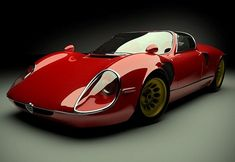Arguably one of the most beautiful cars ever made, the Alfa Romeo 33 Stradale, in red.