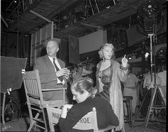 """Marilyn on the set of """"Bus Stop"""" with Paula Strasberg 1955"""