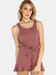 """No thought, no problem! Look great in this one piece featuring rib knit material, tieable waist and ruffled bottom hem. Romper measures 29"""" in. from top to bottom hem. Throw on adidas and a couple silver bracelets. #romper #urban #MakeMeChic #MMCstyle #ootd #MMC #style #fashion #newarrivals #summer16"""