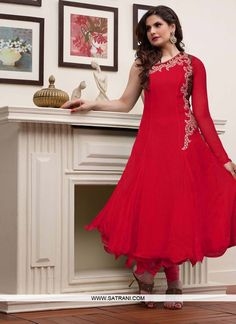 GLITZY RED COLOURED GEORGETTE SEMI-STITCHED ANARKALI SUIT