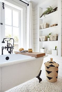 Rustic modern farmhouse bathroom in small cottage by Trinette Reed for Stocksy U. - Rustic modern farmhouse bathroom in small cottage by Trinette Reed for Stocksy United - Fixer Upper, Ideas Hogar, Modern Farmhouse Bathroom, Modern Vintage Bathroom, Modern Farmhouse Interiors, Modern Farmhouse Design, Modern Bathroom Decor, Modern Design, Farmhouse Homes