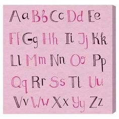 Pink ABCs Canvas Print, Oliver Gal