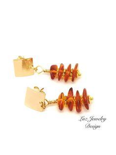 Tangerine Orange Earrings, aAmber earrings, Orange Jewelry, honey amber earrings