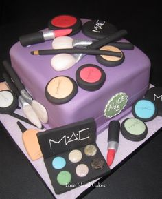MAC FOR ALICE CAKE  Square birthday cake for Alice's 13th covered with handmade sugar make-up products