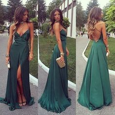 sexy v neck long prom dresses,side slit evening party dress,green backless forma. - - sexy v neck long prom dresses,side slit evening party dress,green backless formal dresses 2019 New Collection Models Ladies-Receive New and Up-to-Date. Dark Green Prom Dresses, Prom Dresses For Teens, Gala Dresses, Green Party Dress, Party Dresses, Wedding Dresses, Sexy Green Dress, Green Dress Outfit, Split Prom Dresses