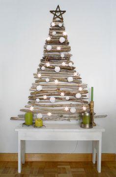 DIY: x-mas tree with sticks.