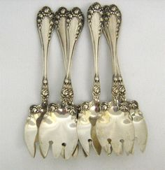 Wallace Sterling Silver – (6) Rose Ice Cream Forks, Space 32, inventory 4893, Set of Six $395.00