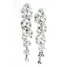 Snowy Somber Dangle Earrings Like Snow Flakes Falling Gently From The Sky This Pair Of Long Are A Show Stopper Sparkly Round Crystals