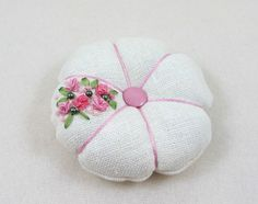 Hand embroidered pincushion linen pincushion by Ifeelstitchy