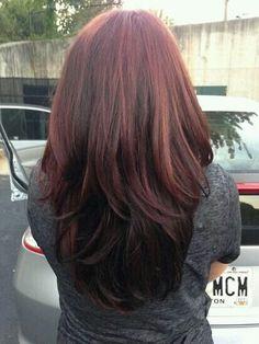 Redhair burgandi hair colour