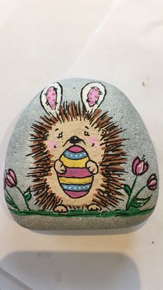 Easter Hedgehog Rock painting
