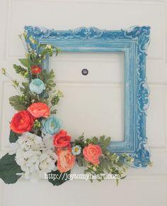DIY Picture Frame Wreath, coral blue light aqua, home decor, craft