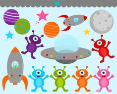 BIRTHDAY SALE - Space Aliens Clip Art Graphics - Digital Clipart Commercial Use - Instant Download