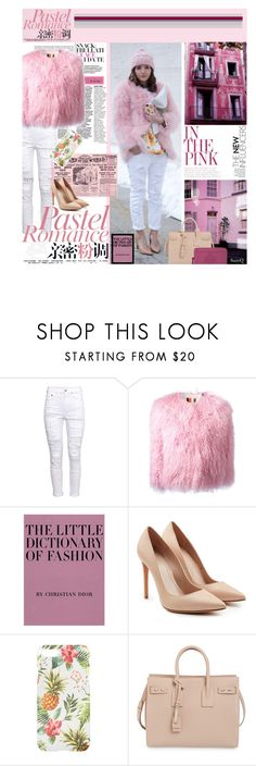 """""""THINK PINK: Torn White Denim"""" by polyvore-suzyq ❤ liked on Polyvore featuring H&M, MSGM, Alexander McQueen, Yves Saint Laurent and Tory Burch"""