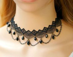 Victorian Inspired Lace Choker Necklace with by FairybyFoxie Jewelry Design Earrings, Lace Jewelry, Gothic Jewelry, Bridal Jewelry, Gothic Necklaces, Costume Necklaces, Lace Necklace, Fantasy Jewelry, Fashion Jewelry