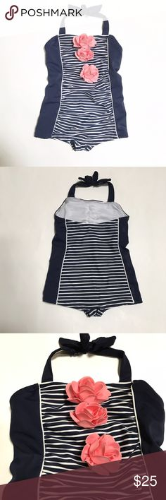 JANIE & JACK [baby girls] Navy blue Swim suit Gently worn once to the pool. Navy blue and white striped bathing suit. Pink flowers on front. Clasp around back of neck. Janie and Jack Swim One Piece