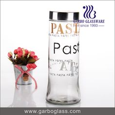 Tall and big clear glass jar with color lid, for storage food