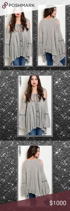 "⭐️⭐️COMING IN 2-3 DAYS RESERVE YOUR SZ TODAY⭐️⭐️ **DON'T MISS OUT! AMAZING TOP** New boho heather gray angora blend cold shoulder long bell sleeve top Color: Heather gray Material: 68% ANGORA 17% NYLON 15% POLYESTER Made in U.S.A Features: Soft Angora Blend; Cold Shoulder; Long Bell Sleeve; Yolk Tie Trim; Slub Knit Fits true to size   Approx measurements taken from Small: Bust: 48"" Waist: 48"" Length: 28""  💠💠PRICE FIRM UNLESS BUNDLED💠💠 ⭐️⭐️SORRY NO TRADES AND LOWBALL OFFERS WILL BE…"