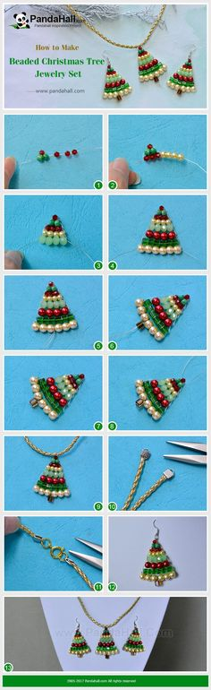 PandaHall Christmas Jewelry Making---Beaded Christmas Tree Jewelry Set Everyone loves Christmas tree. Today I will show you how to make beaded Christmas tree with beads and wires. The Christmas tree pattern is easy and follow me to have a nice try! #PandaHall #jewelryset #necklace #earrings #diy #craft #tutorial #Christmascraft #promotion #pearl