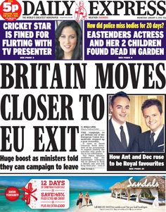 """Wednesday's Daily Express front page: Britain moves closer to EU exit Eastenders Actresses, Daily Express, Tv Presenters, The World's Greatest, Flirting, Britain, January 2016, Closer, Wednesday"