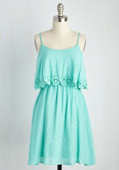 Flirty Things First Dress - Mint, Solid, Casual, Sundress, Pastel, A-line, Sleeveless, Spring, Woven, Good, Festival, Mid-length, Boho, Lace