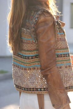Embellished vest, over what appears to be my dream leather jacket!!! That colour!!!