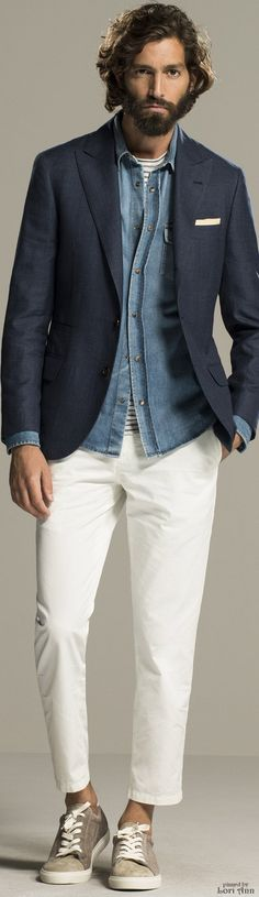Brunello Cucinelli Spring 2016 | Men's Fashion | Menswear | Men's Casual Outfit | White Pants/Trousers, Chambray Shirt, Navy Sport Coat | Moda Masculina | Shop at designerclothingfans.com